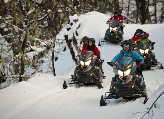 SNOWMOBILES AT ARELAUQUEN MOUNTAIN HUT
